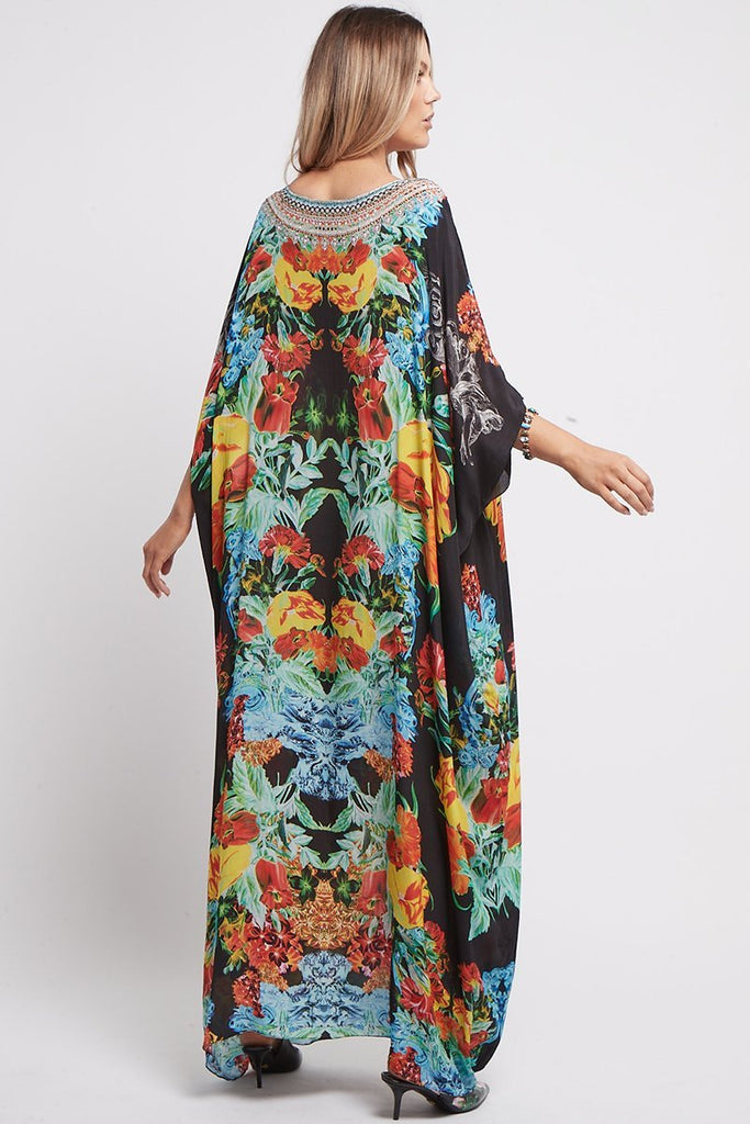 CUBAN NIGHTS ROUND NECK LONG KAFTAN - Czarina