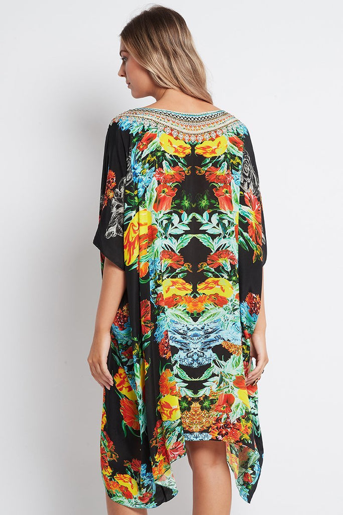 CUBAN NIGHTS ROUND-NECK SHORT KAFTAN - Czarina