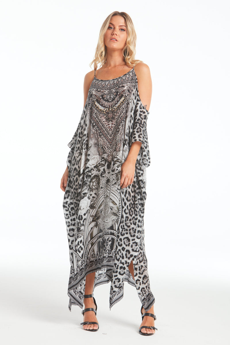 WILD AT HEART COLD-SHOULDER LONG KAFTAN