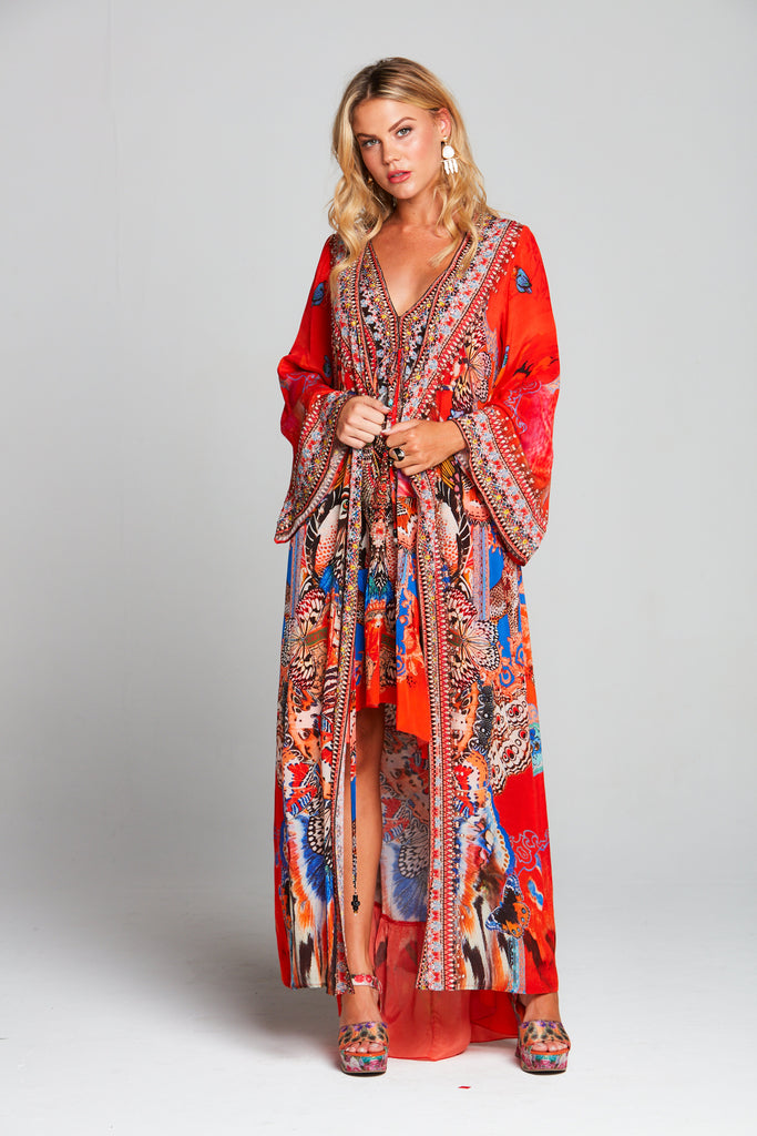 FORBIDDEN TEMPLE WRAP DRESS