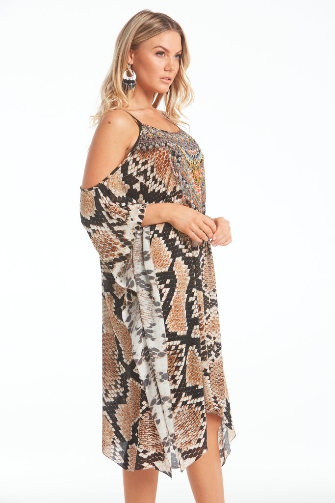 WILD DESERT COLD-SHOULDER SHORT KAFTAN