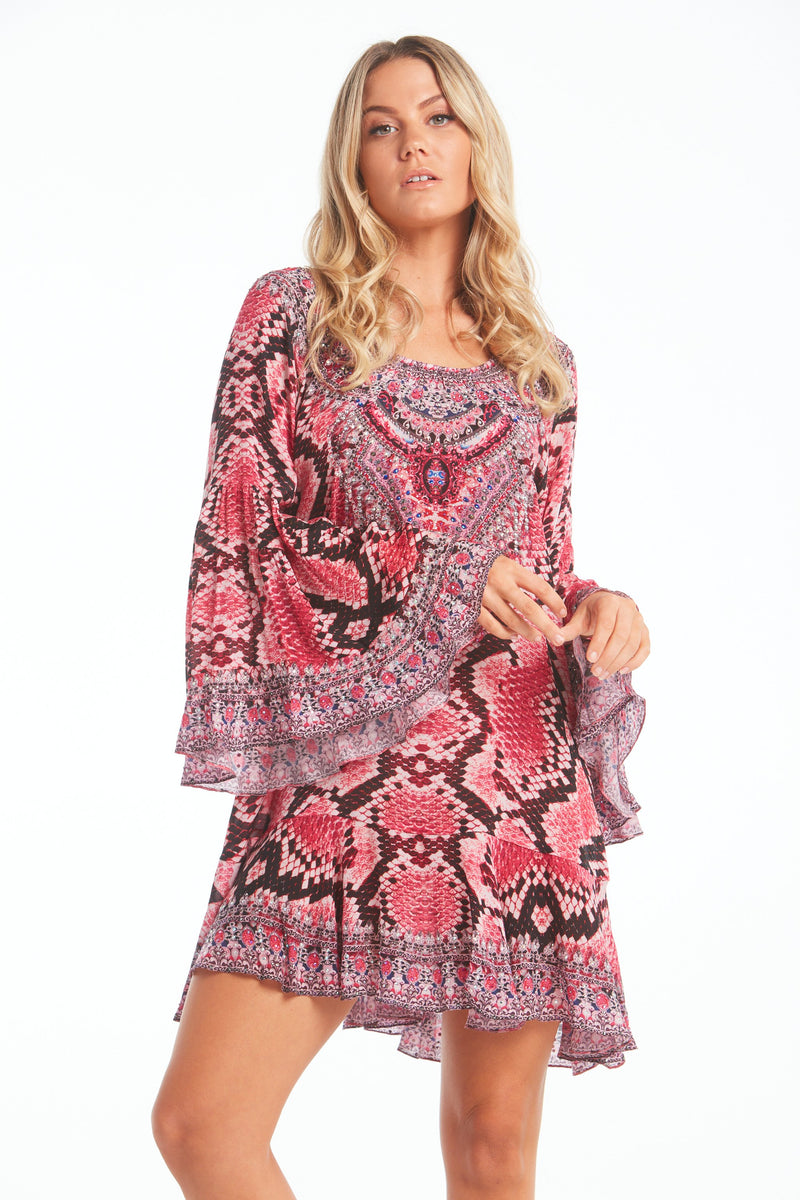 DESERT ROSE FRILL DRESS