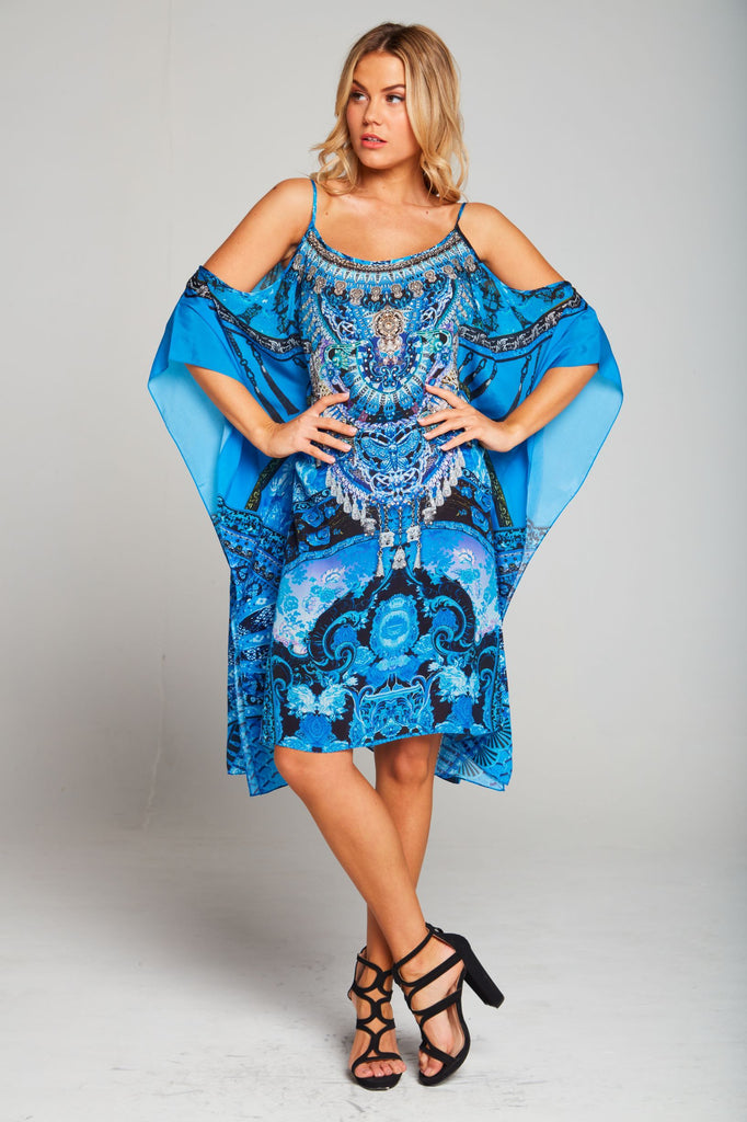 UNFORGETTABLE DREAM  COLD-SHOULDER SHORT KAFTAN