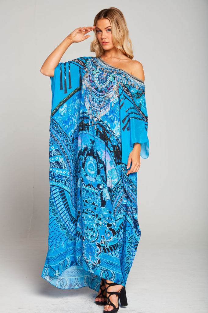 UNFORGETTABLE DREAM ROUND NECK LONG KAFTAN