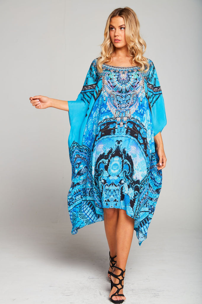 UNFORGETTABLE DREAM ROUND NECK SHORT KAFTAN
