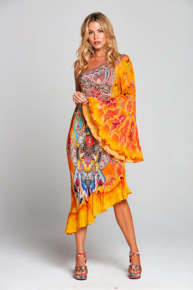 SUNSET KISSES ONE SHOULDER DRESS