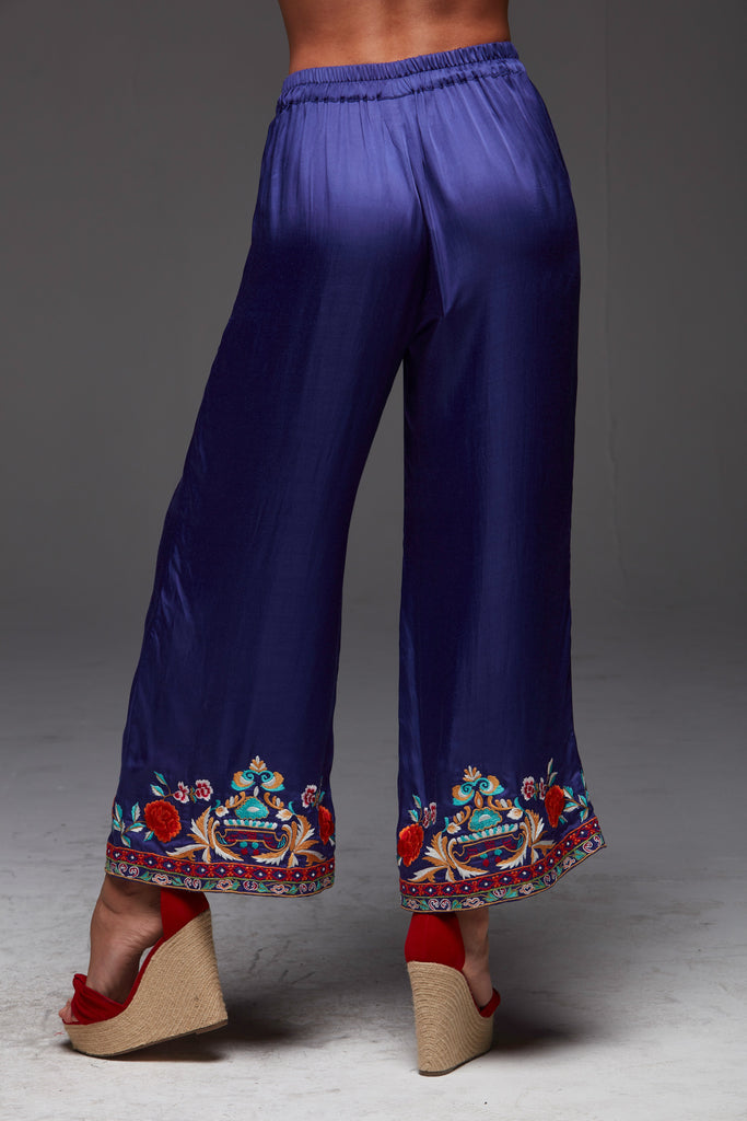 PURPLE SOUL EMBROIDERED PALAZZO PANTS
