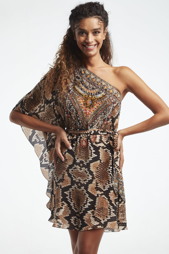 WILD DESERT ONE SHOULDER DRESS W TIE