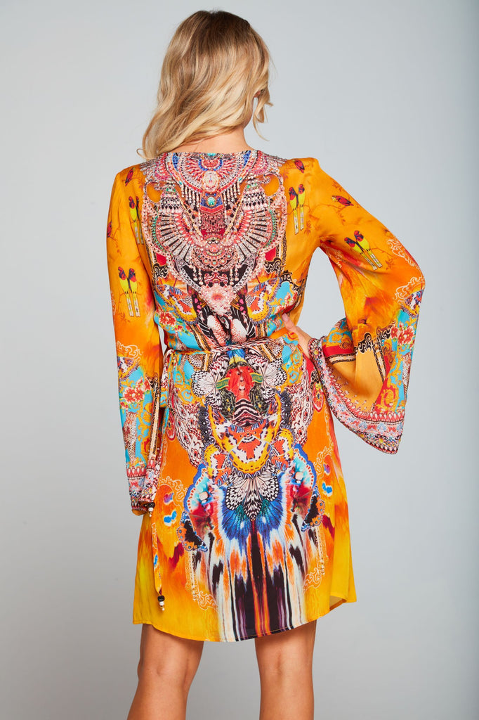 SUNSET KISSES SHORT WRAP DRESS