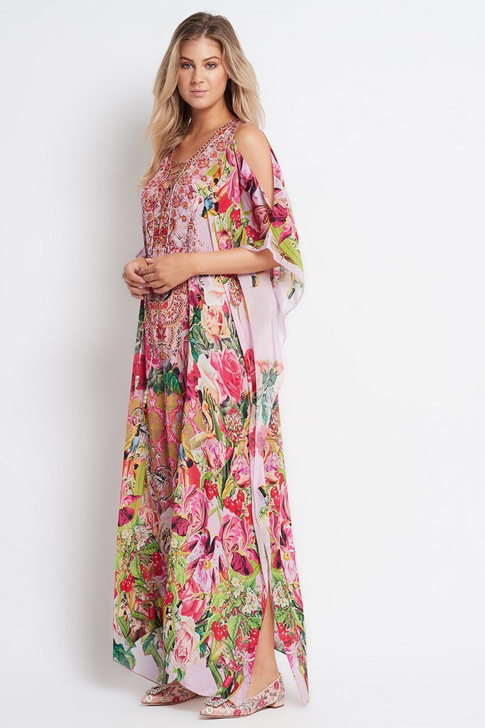 Every Flower Blossoms Long Kaftan W Slit - Czarina