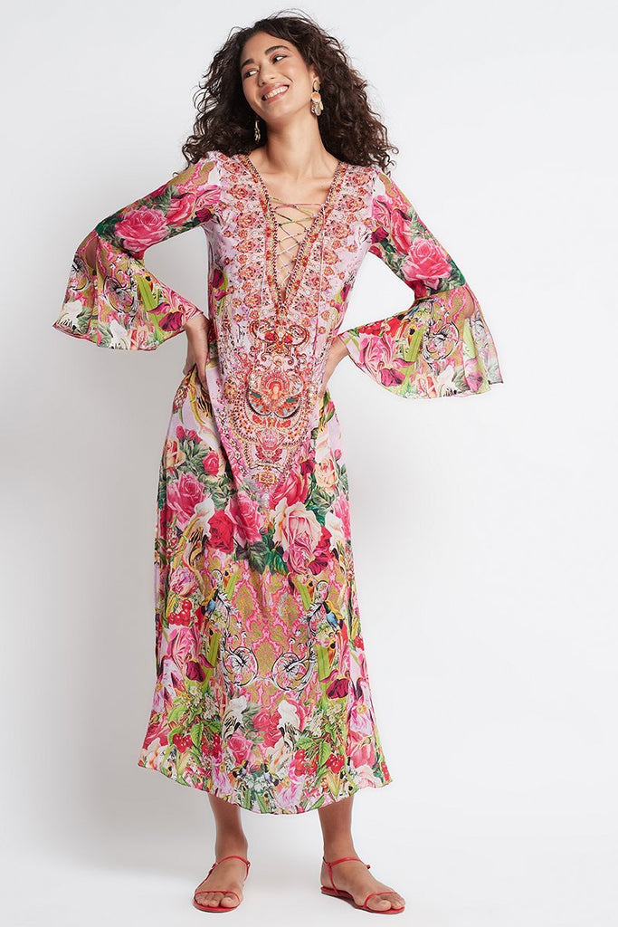 Every Flower Blossoms Maxi Dress W Sleeves - Czarina