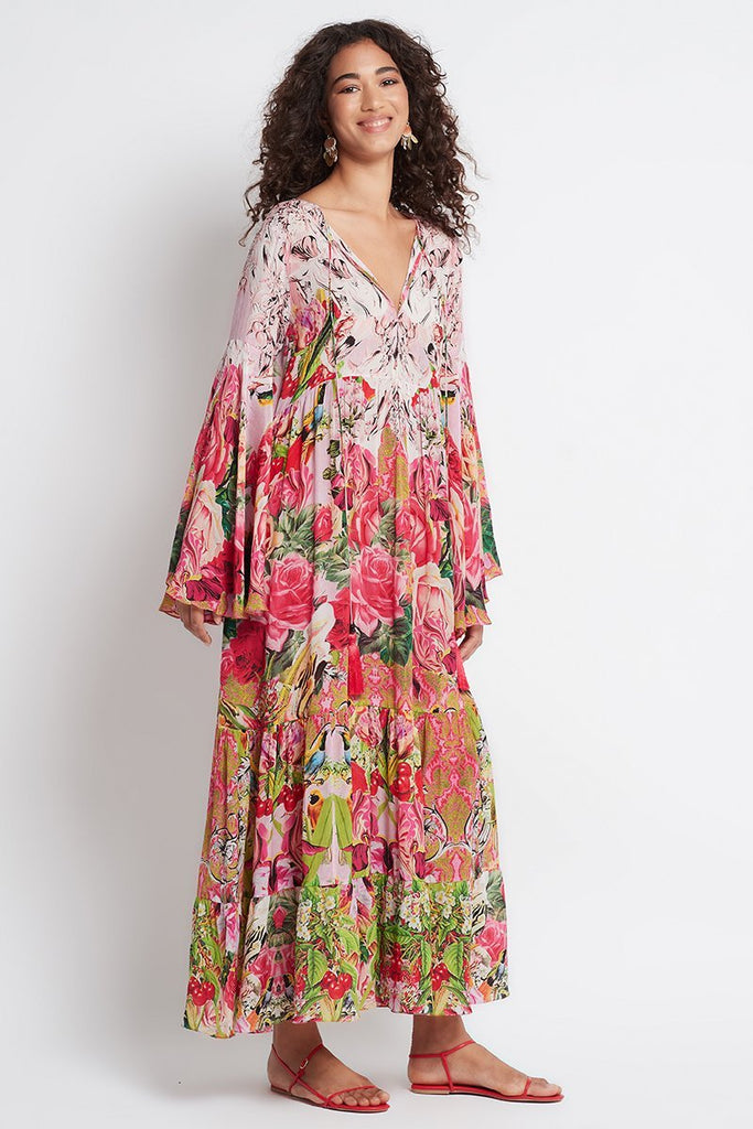 Every Flower Blossoms Maxi W Bell Sleeve - Czarina