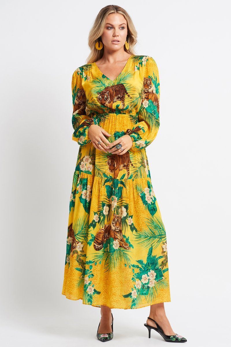 TROPICAL TIGRESS VN LONG DRESS - Czarina