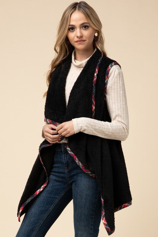 Fleece Draped Vest
