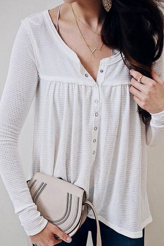Waffle Button Down Loose Fit Casual Top