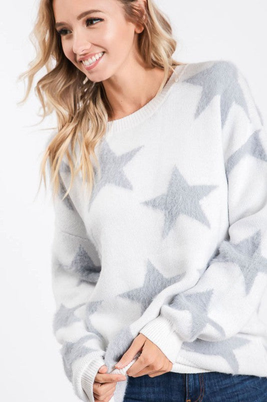 All Over Fluffy Big Star Sweater