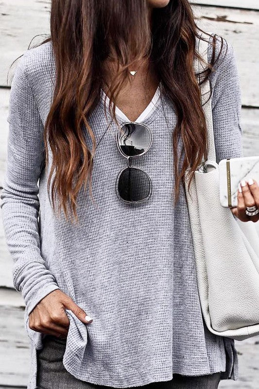 V-neck Loose Fit Casual Thermal Top