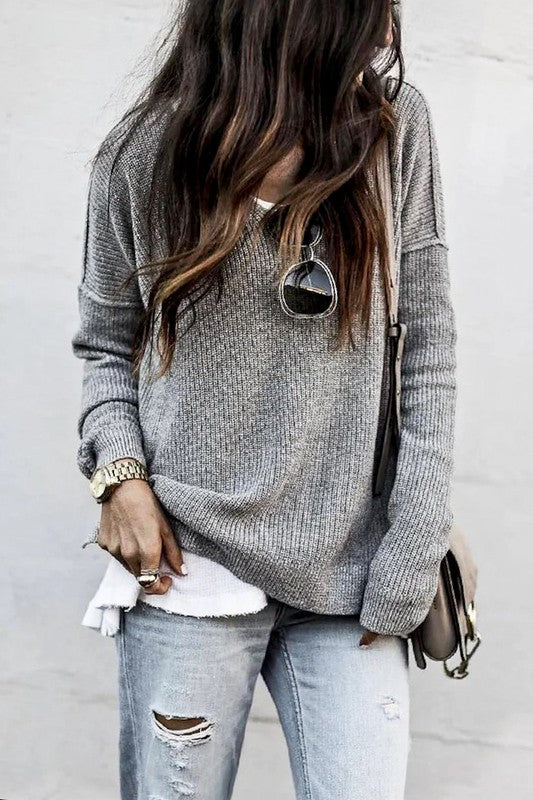 V-neck Knitted Loose Fit Casual Sweater