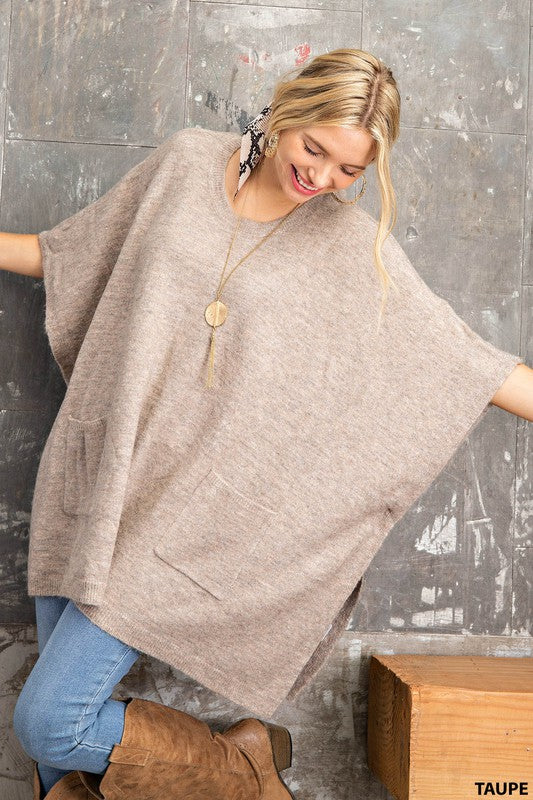Round Neck Poncho Sweater