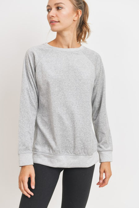 Velour Raglan Style Long Sleeve Knit Top