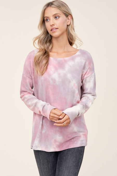 Round Neck Brushed Tie Dye Top
