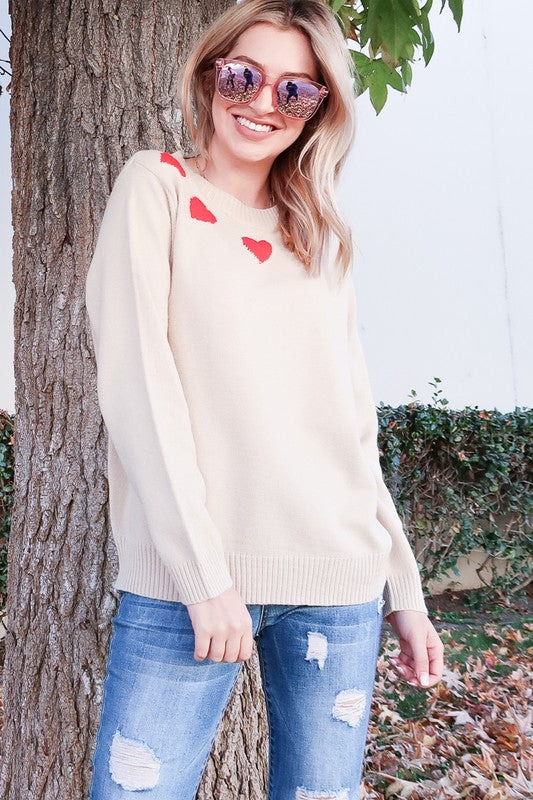 Valentine's Day Heart Print Sweater