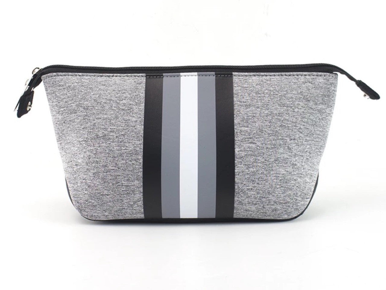 Grey white stripe cosmetic bag