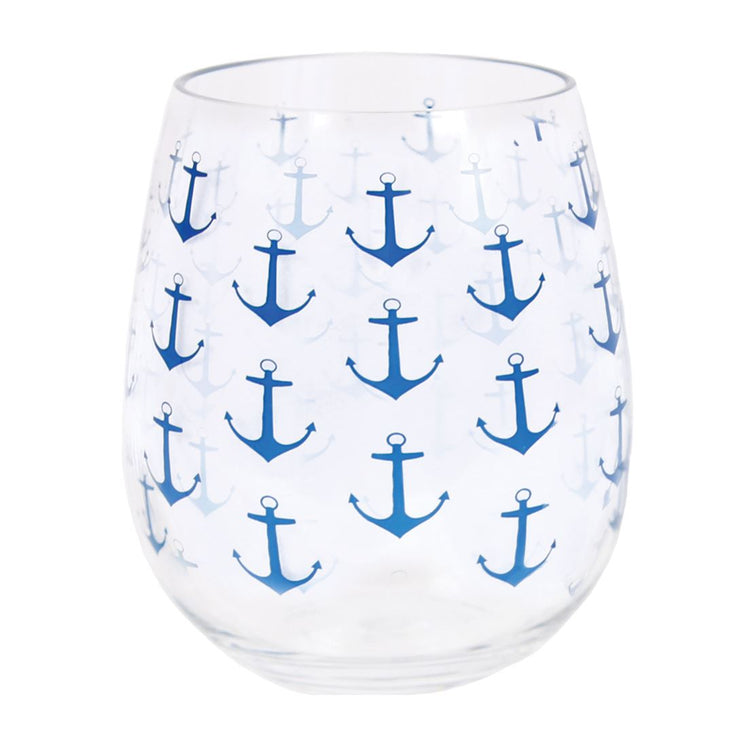 Anchor Pattern Stemless Glass