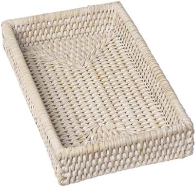 Rattan White Guest Towel Holder