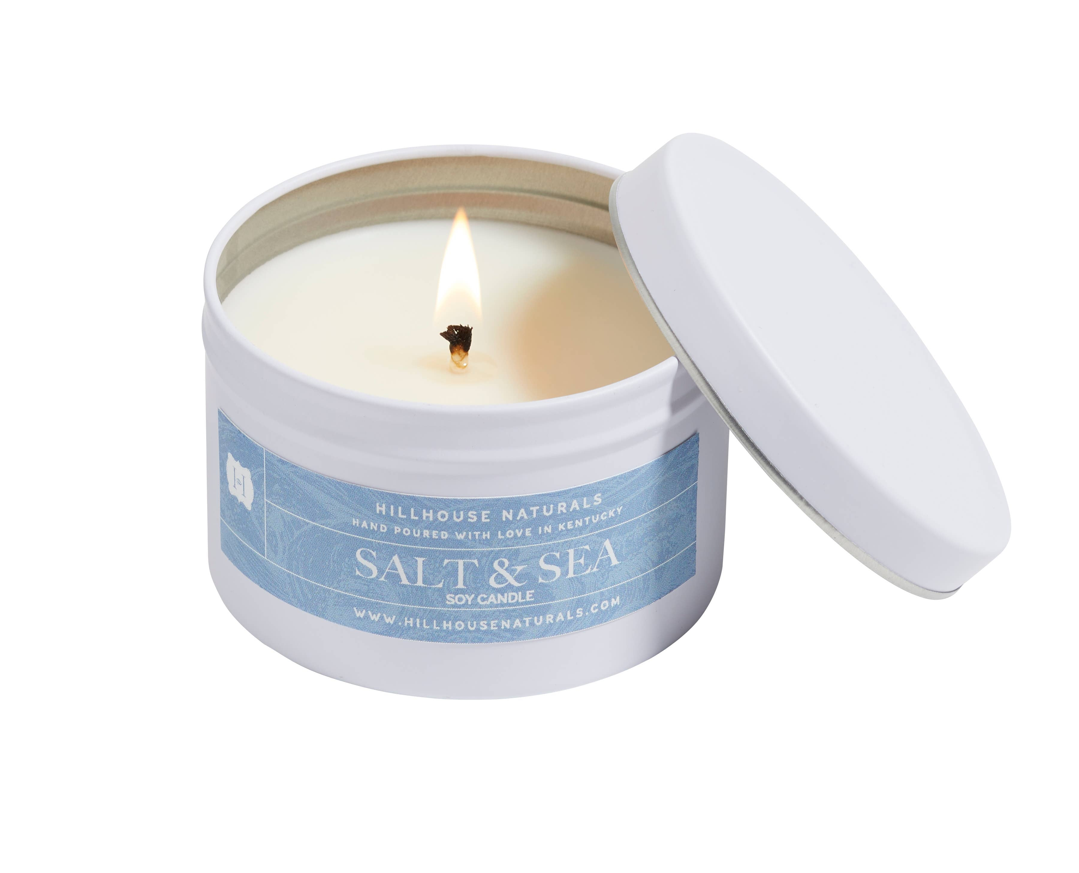 Salt & Sea Candle in White Tin 6oz