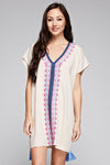 V-neck Multi Colored Embroidered Caftan Tunic.