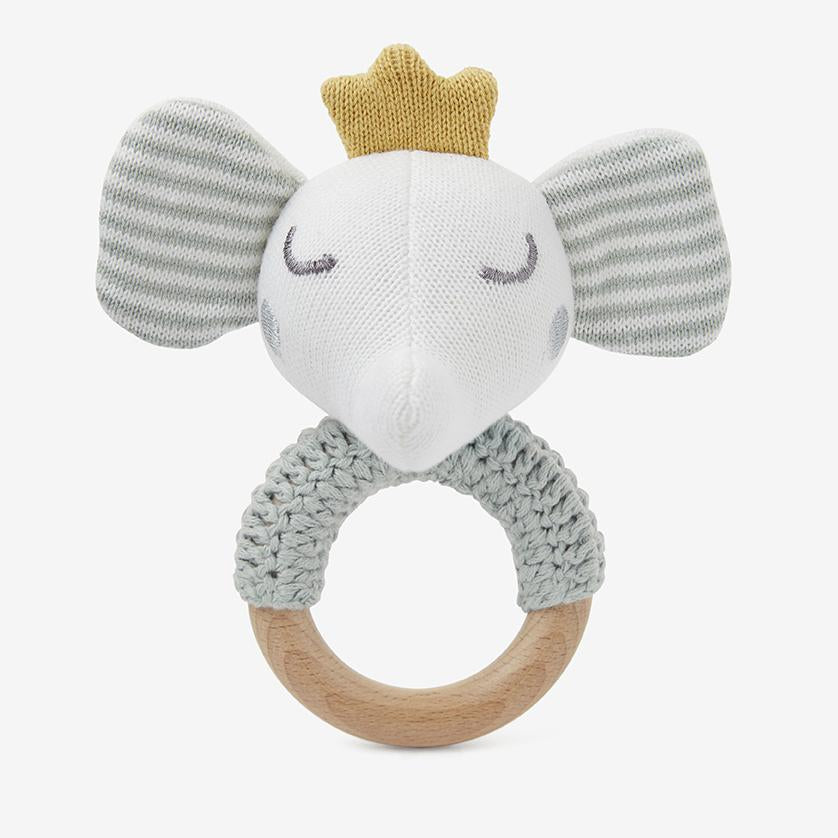 Elephant Princess Knit Baby Ring Rattlers