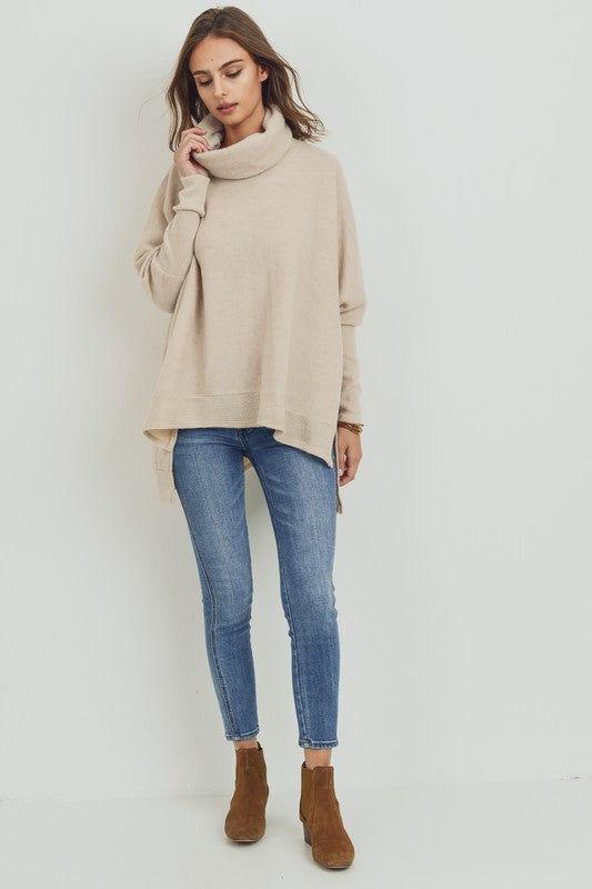 Boxy Fit Cowl Turtle Neck Tunic Top