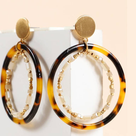 Round Layered Acetate Tortoise and Glass Beads Earrings
