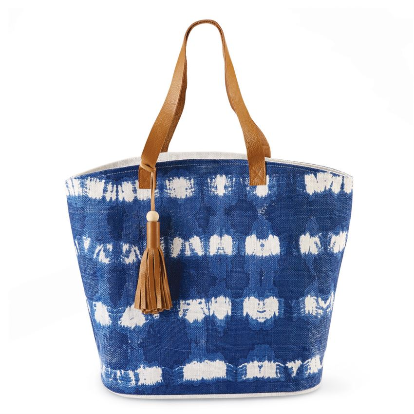 Striped Tie Dye Jute Tassel Tote Bag