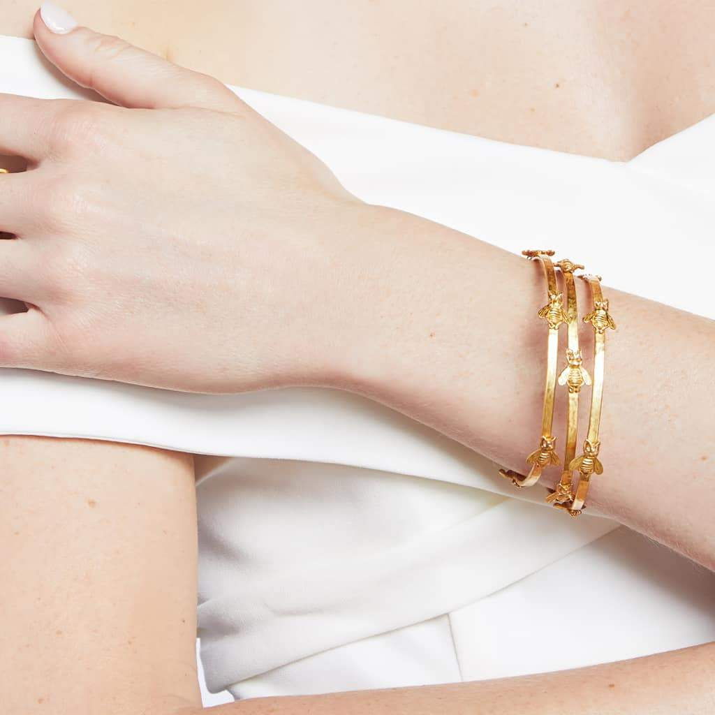 Bee Bangle Gold Cubic Zirconia - Medium