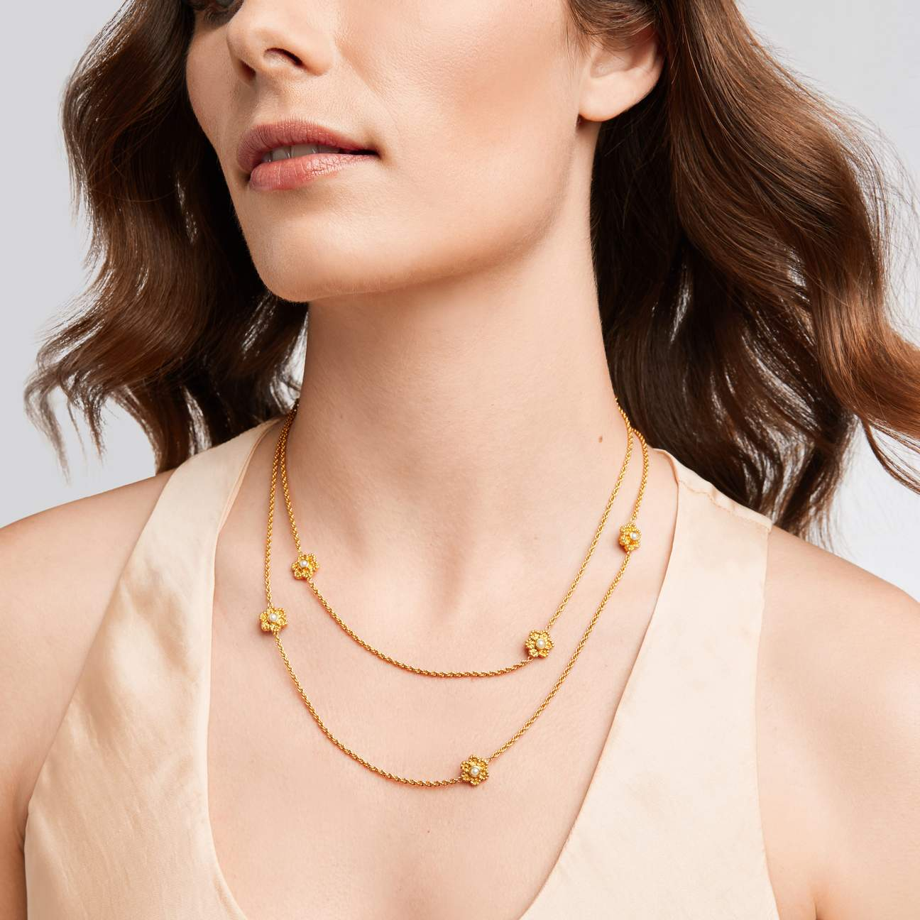 Colette Pearl Station Necklace Gold Pearl