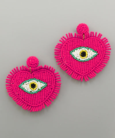 Fuschia Evil Eye Heart Statement Earrings