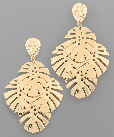 Monstera Leaf Cluster Earrings