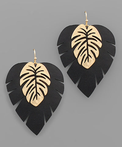Leather & Metal Leaf Earrings