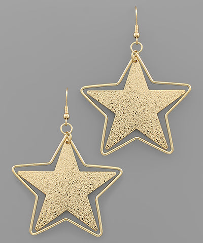 Textured Star Earrings