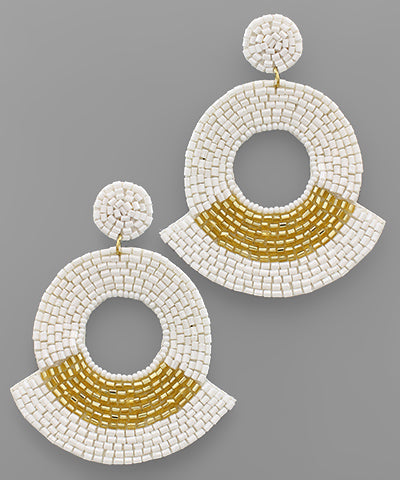 White Open Circle Statement Earrings