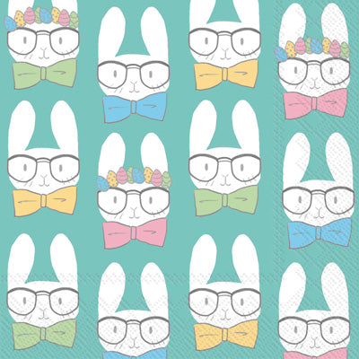 Easter Bunnies Turquoise Cocktail Napkin