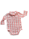 Gingham Pink Peter Pan Collar Bodysuit