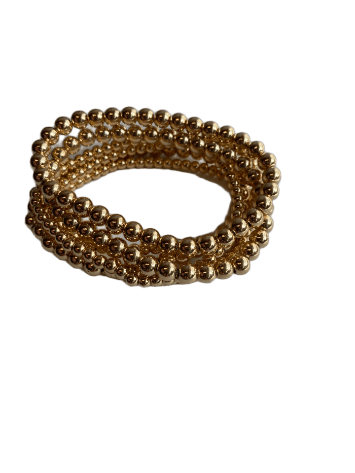 Stackable Gold Bead Bracelet Set