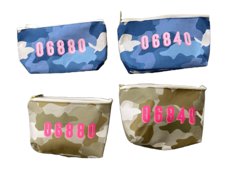 Camo Zip Code Cosmetic Bag with Zipper