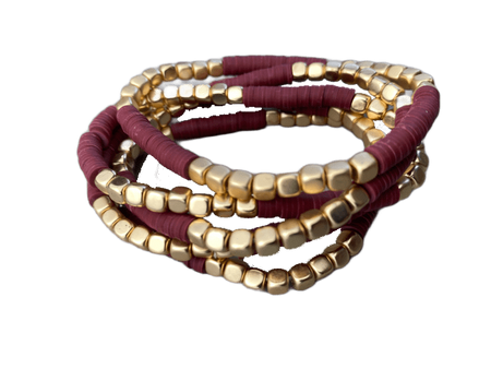 Heishi and Gold Bead Bracelet Set