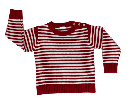 Little La La Button Knit Sweater in Red
