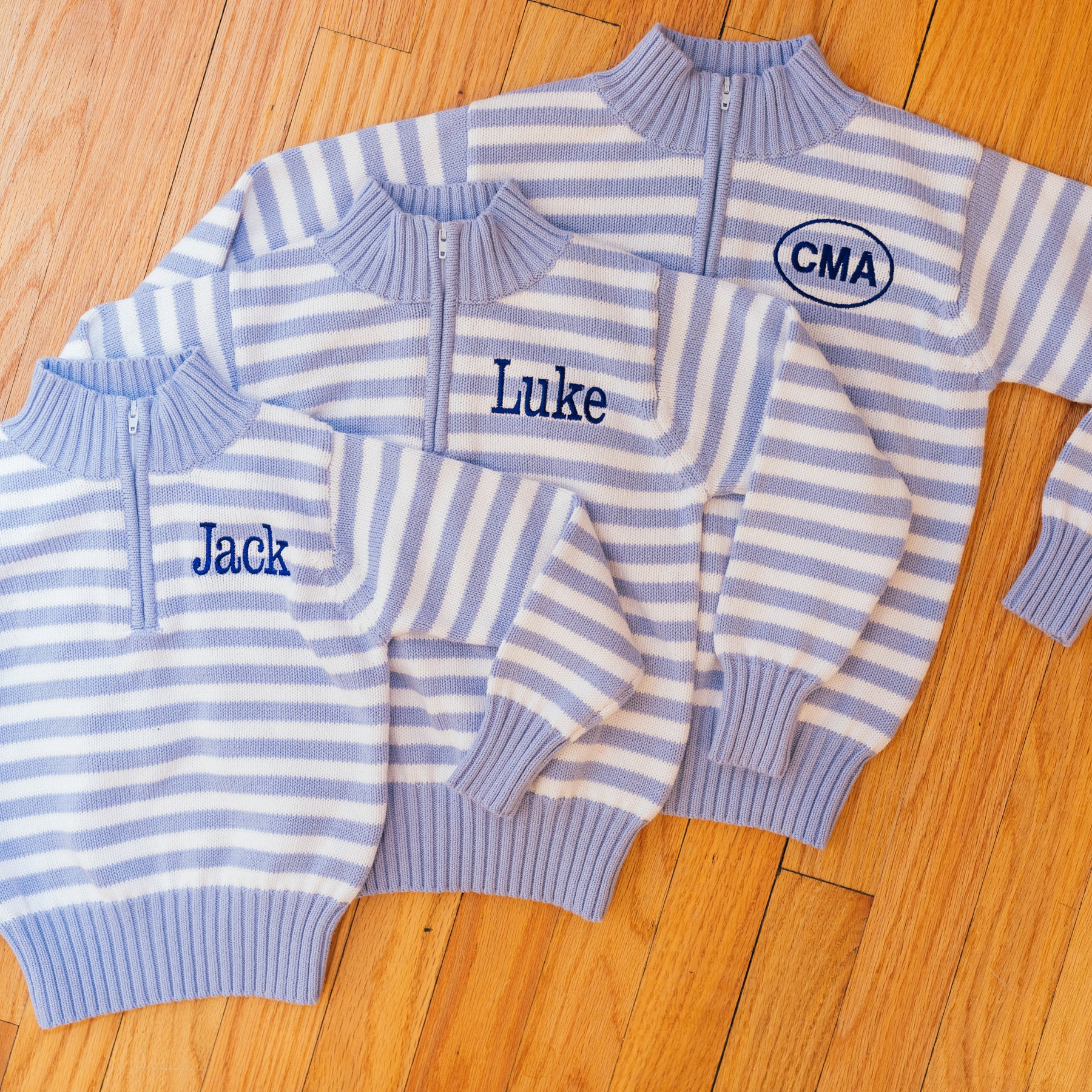 Little la la Cotton Knit Striped Zipper Sweater