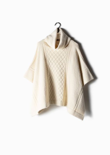 Cable Knit Turtle Neck Poncho